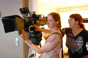 Louise Alston and DOP Nicola Daley on the set of Photocopier