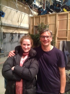 Louise Alston and Laurence Wilson on the Neighbours set